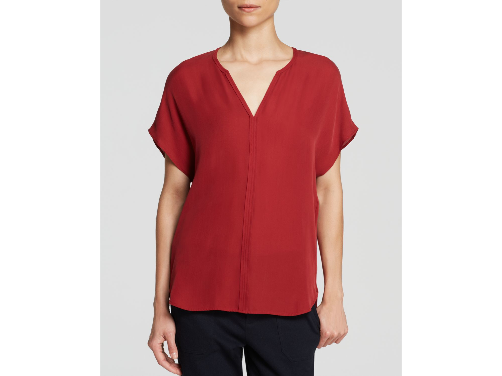 6922aa62875e6 Lyst - Vince Popover Silk Top in Red