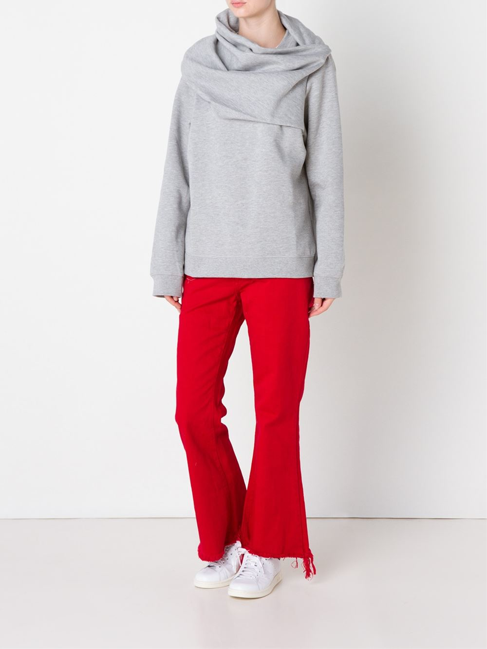 Marques'almeida Frayed Edge Flared Jeans in Red | Lyst