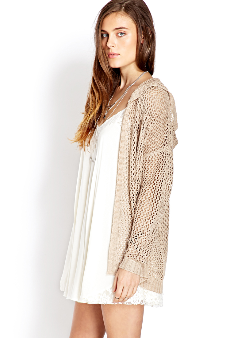 Forever 21 Easy Open-knit Hooded Cardigan You've Been Added To The ...