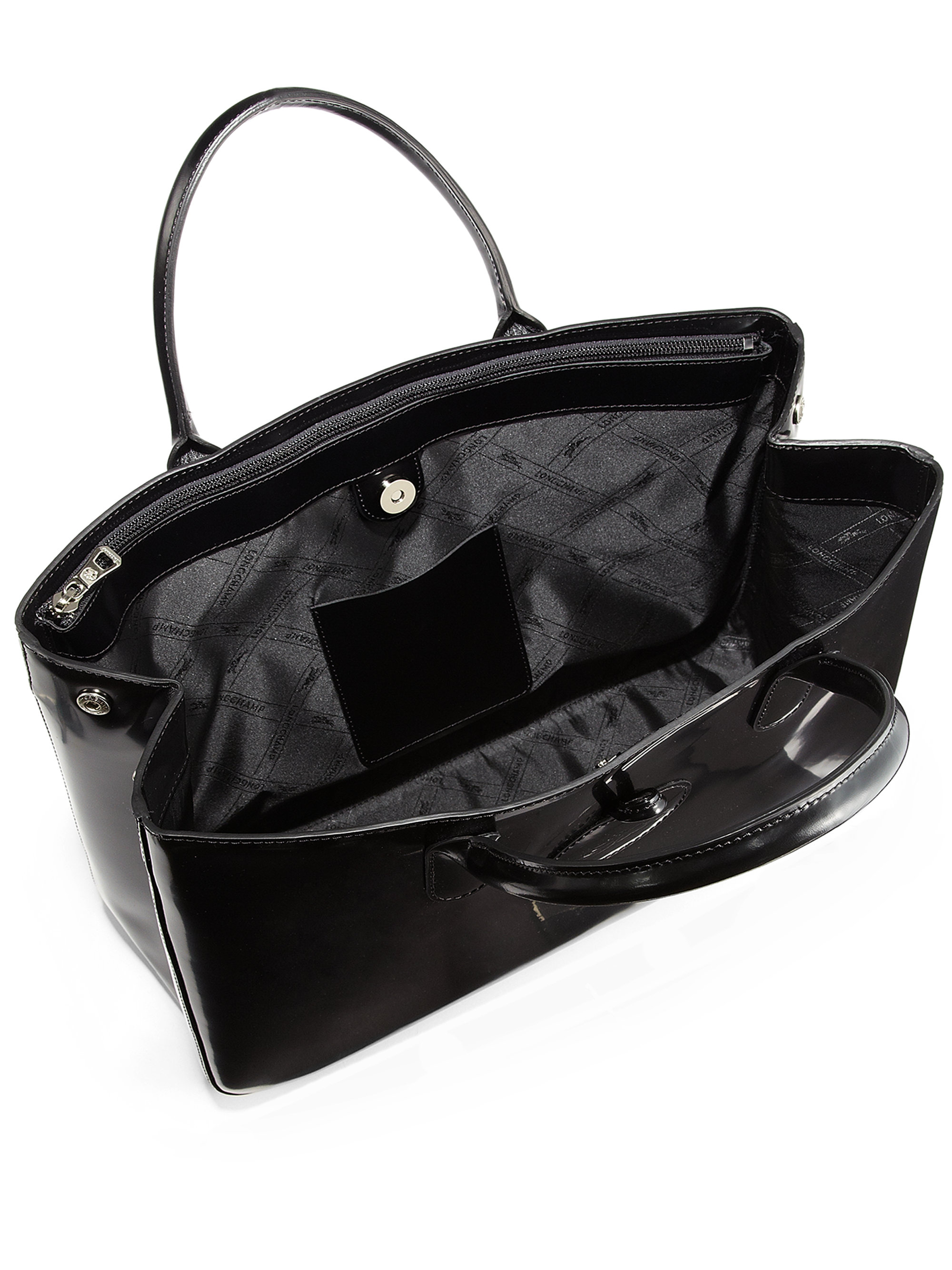 e6b20d2e8bc Longchamp Roseau Large Patent Leather Box Tote in Black - Lyst