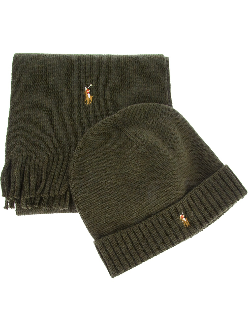 9758ae26295 ... new zealand lyst polo ralph lauren ribbed hat and scarf set in green  for men 4aef4