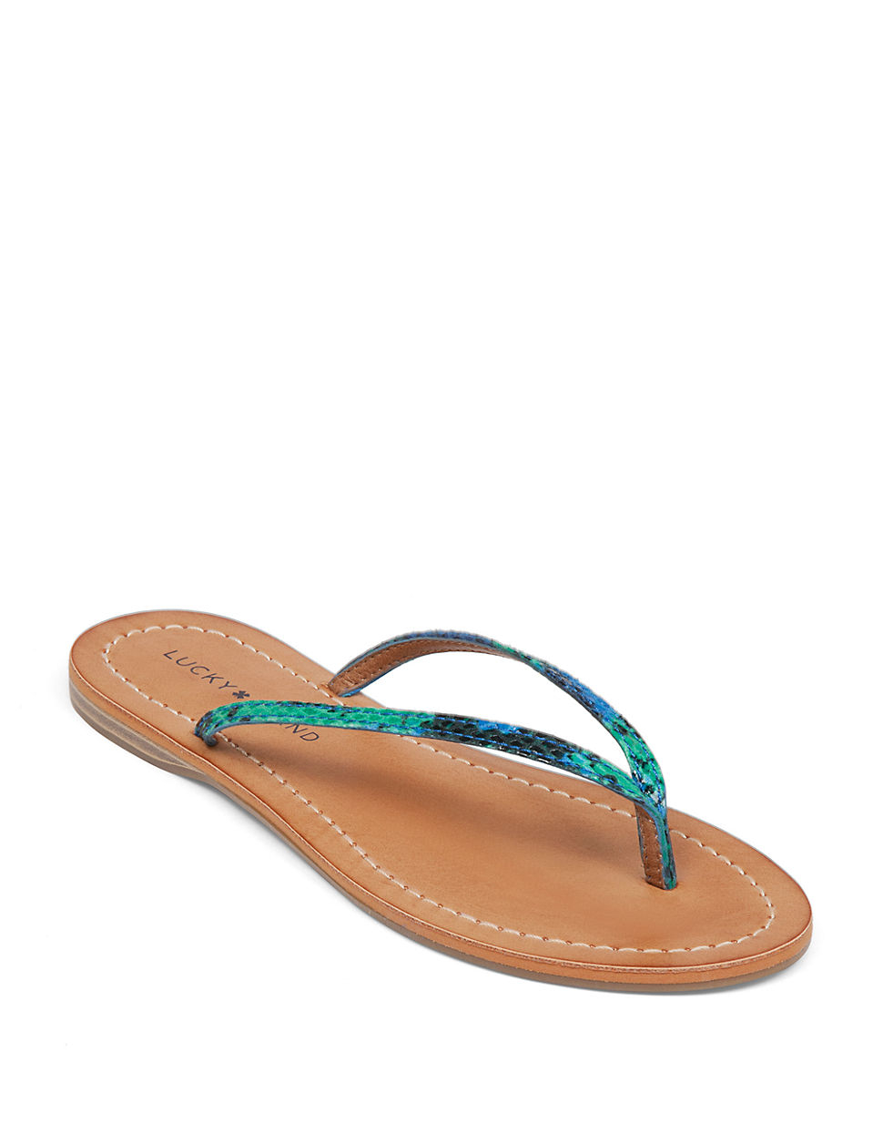 Lucky Brand Amberr Snake Print Sandals In Blue Lyst