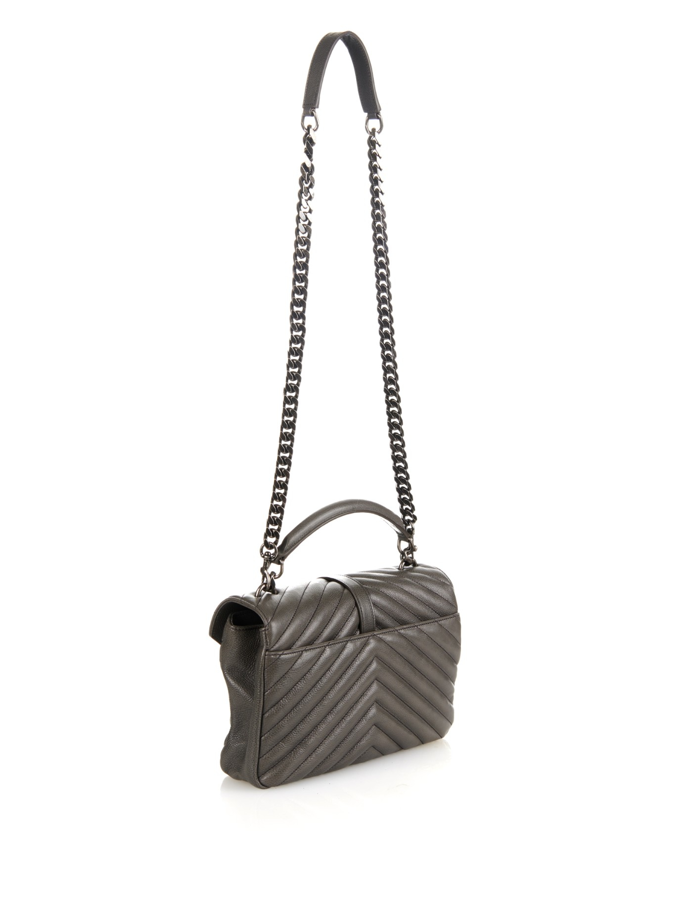 e487ee1d39 Saint laurent Coll¨¨ge Small Quilted-leather Shoulder Bag in Gray ..  classic large college ...