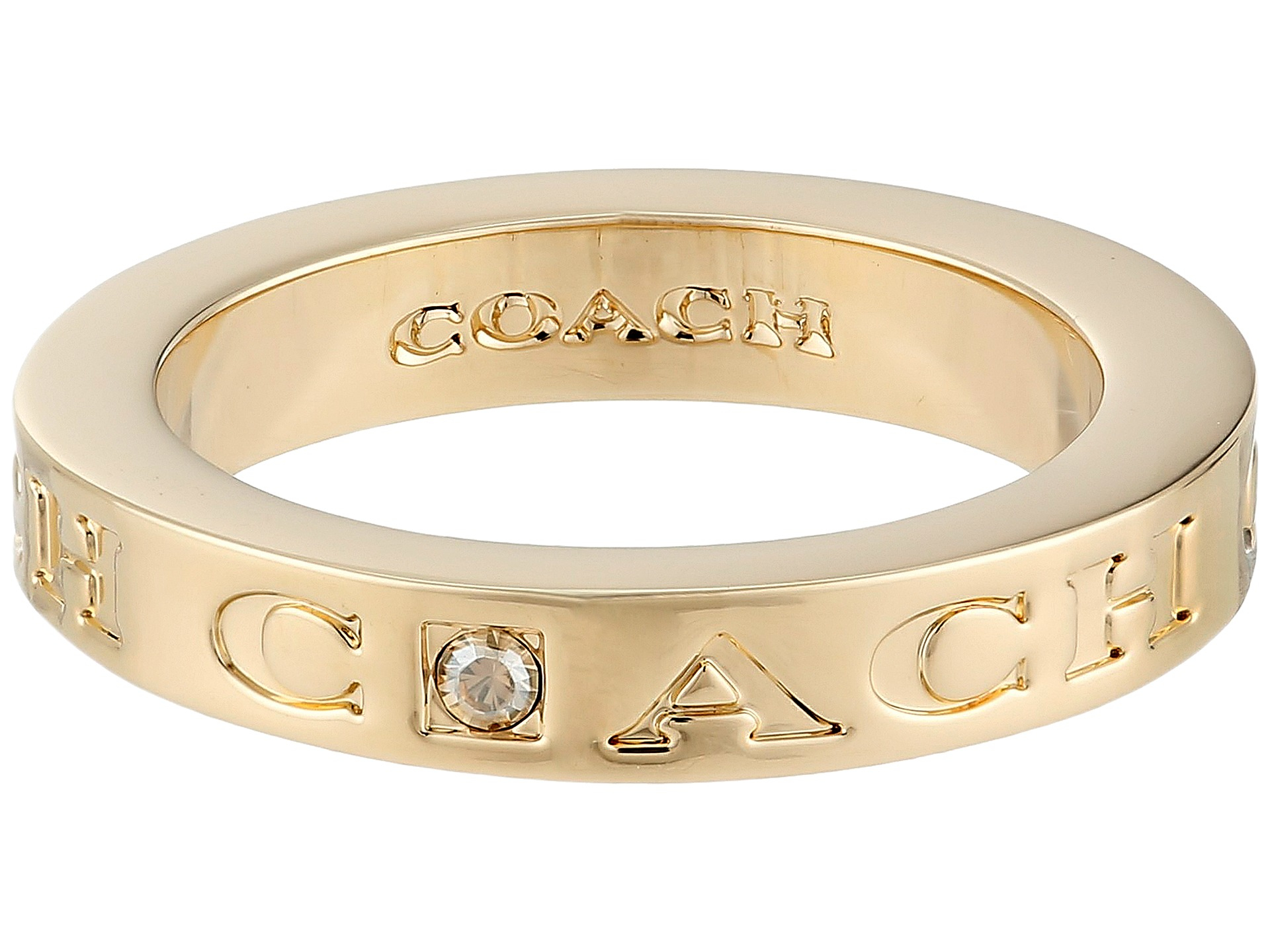 coach pave metal ring in gold lyst