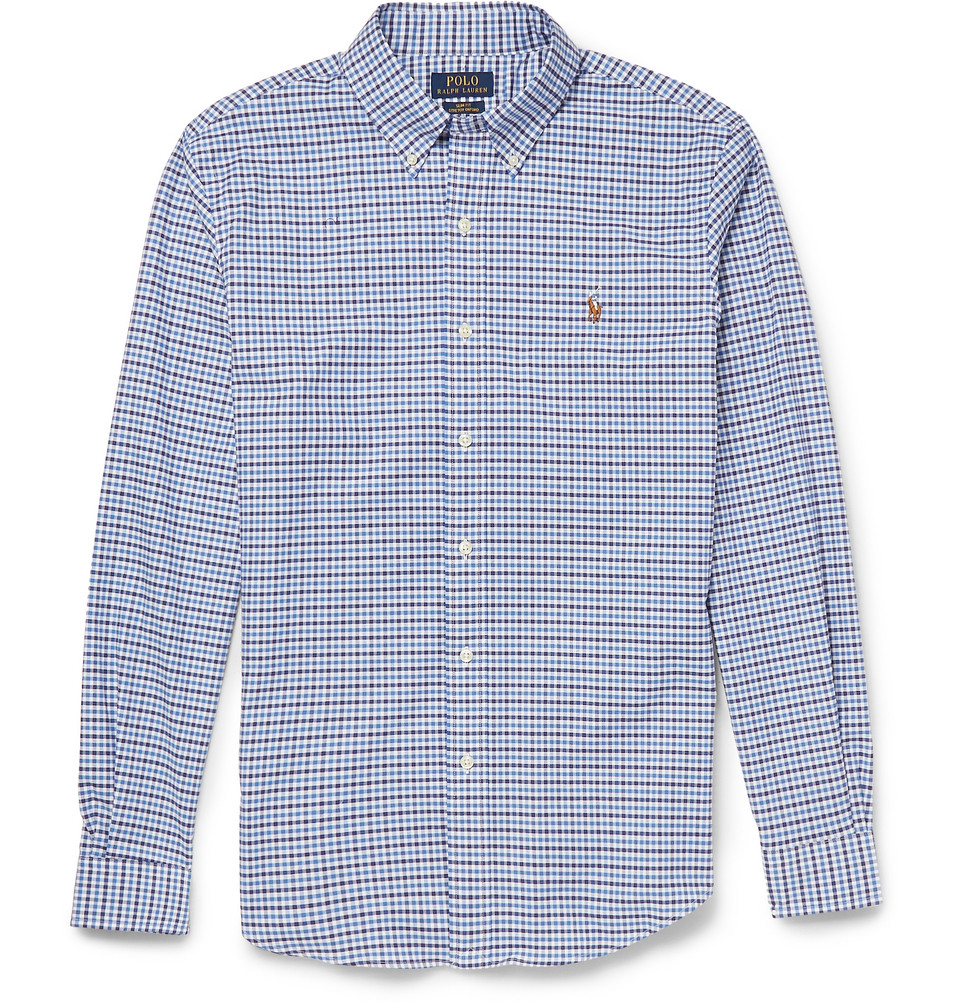 Polo ralph lauren slim fit gingham check cotton blend for Slim fit gingham check shirt