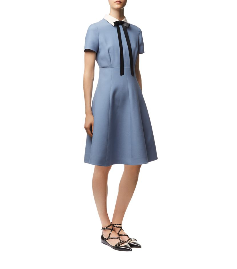 valentino crepe couture bow collar dress in blue lyst