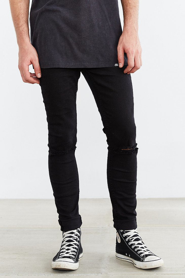 Cheap monday Tight Ripped Black Skinny Jean in Black for Men | Lyst