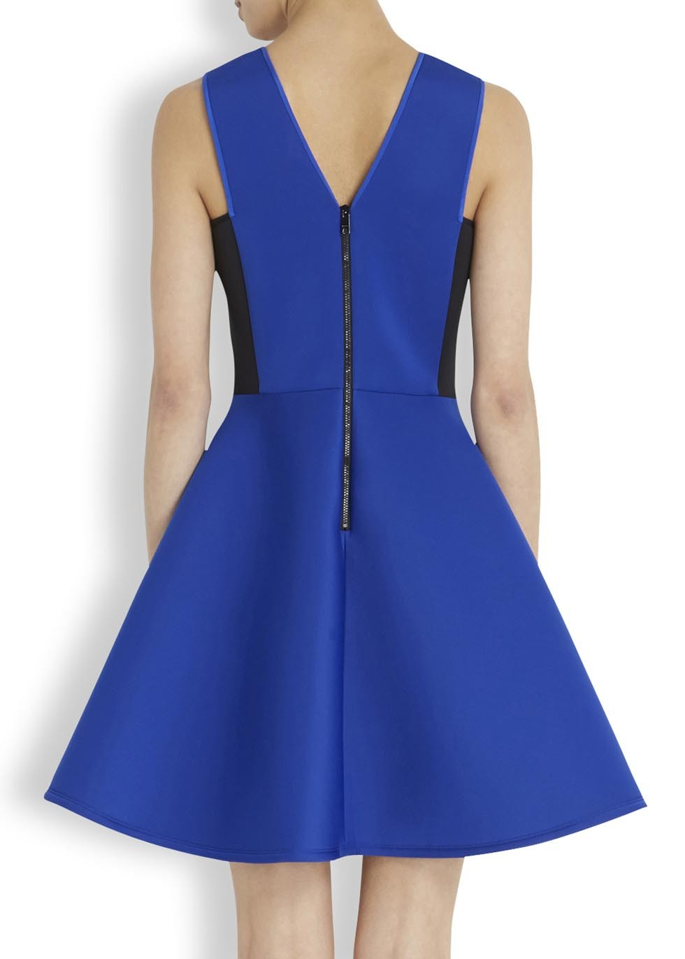 Dkny Blue And Black Flared Neoprene Dress Lyst