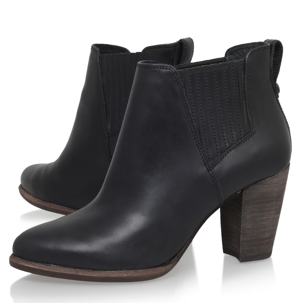 Ugg Poppy Stacked Heel Ankle Boots In Black Lyst