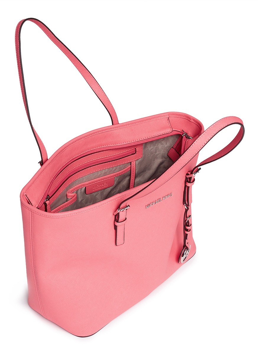 02090edd870b Michael Kors 'jet Set Travel' Saffiano Leather Top Zip Tote in Pink ...