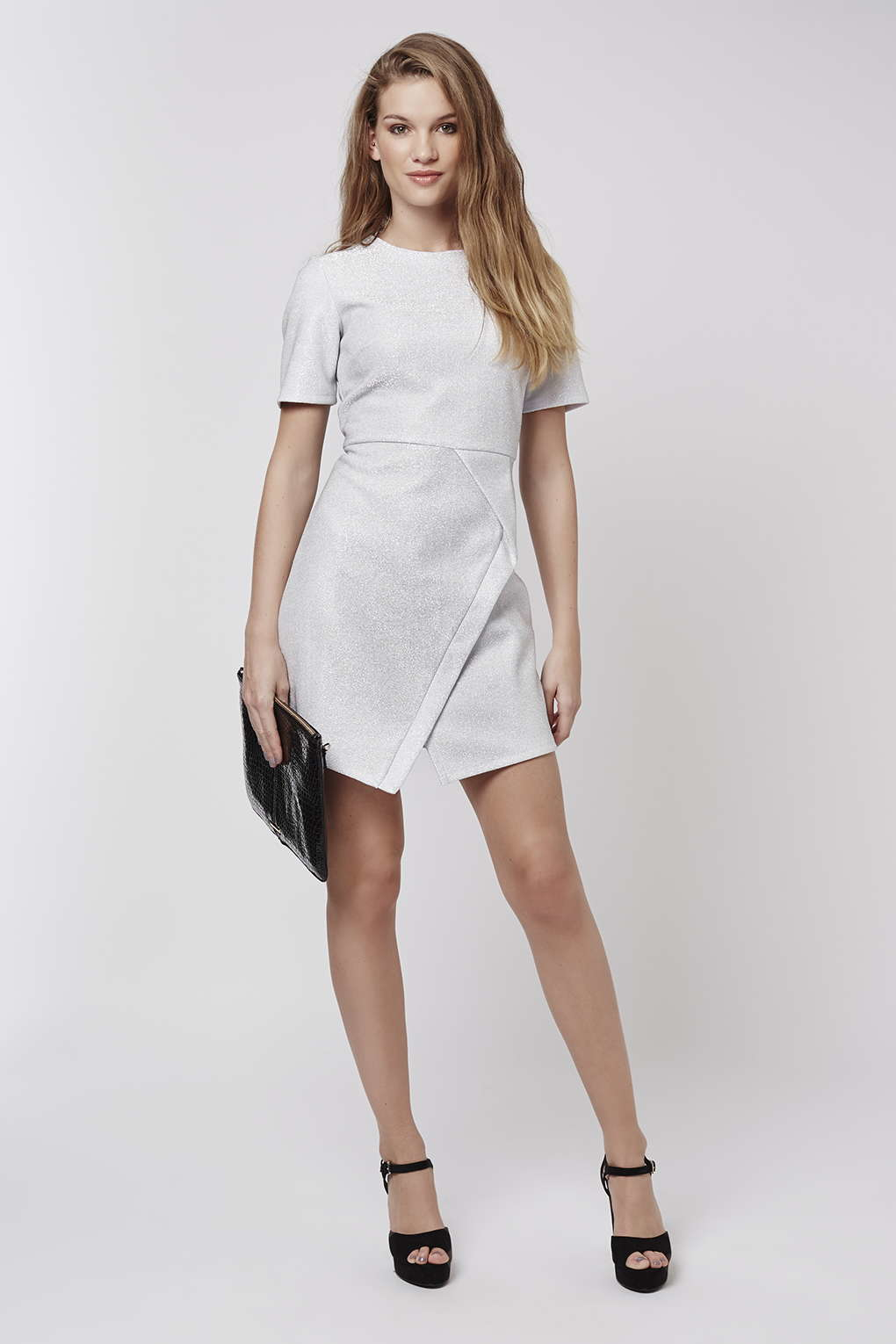 Topshop Tinsel Wrap A-line Dress in White | Lyst