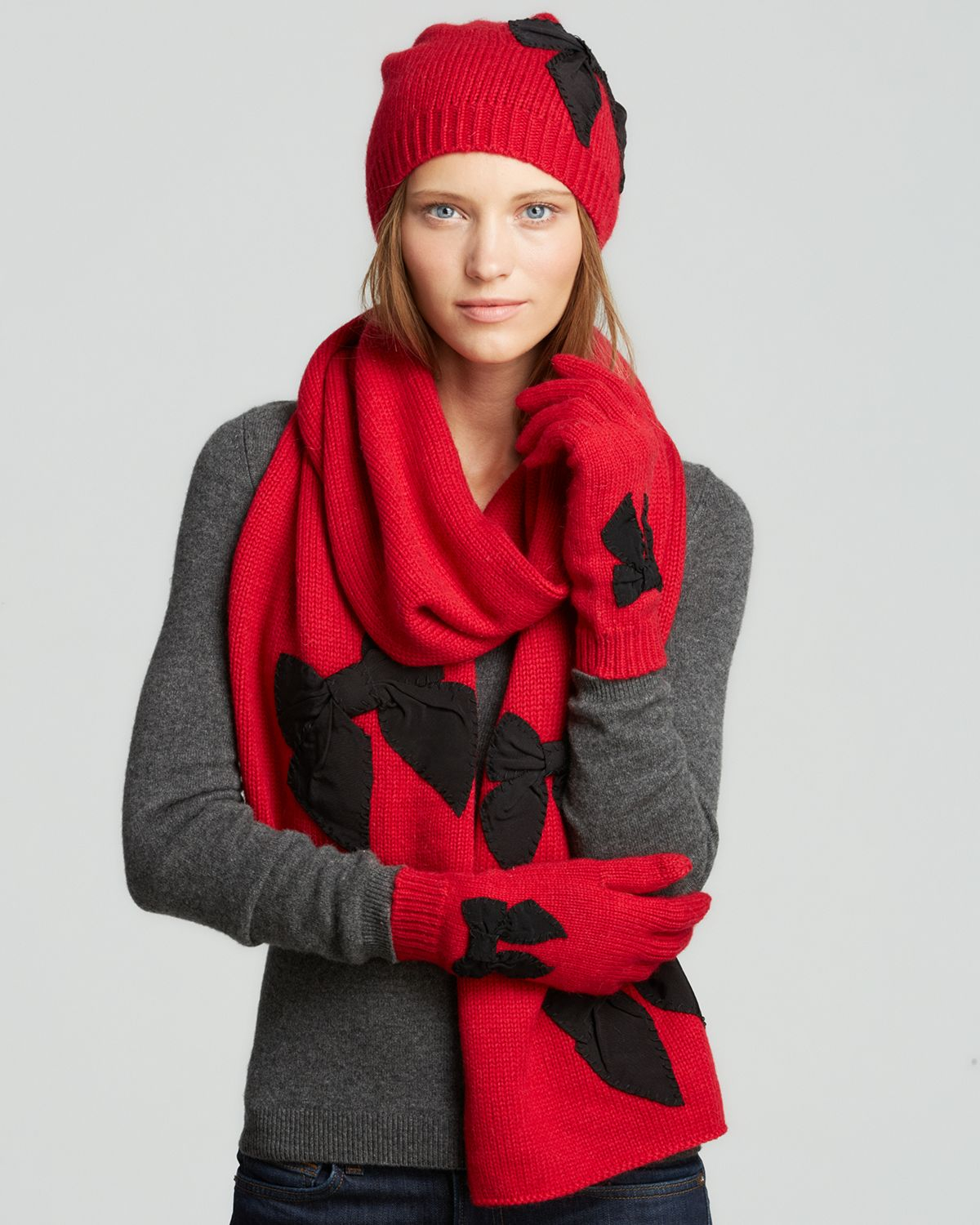 kate spade new york stitched bow scarf in red lyst