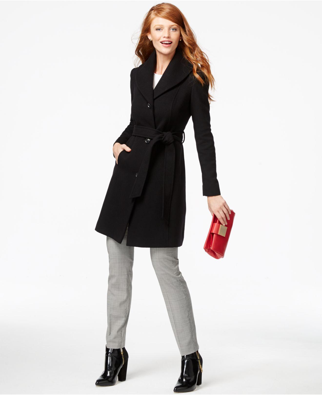 Anne klein Cashmere-blend Walker Coat in Black | Lyst