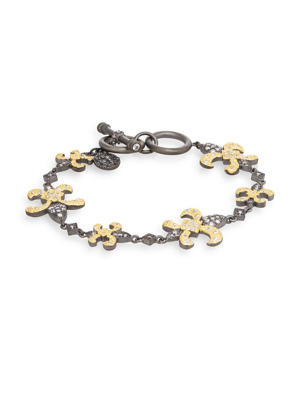 Freida Rothman Fleur De Lis Station Toggle Bracelet In