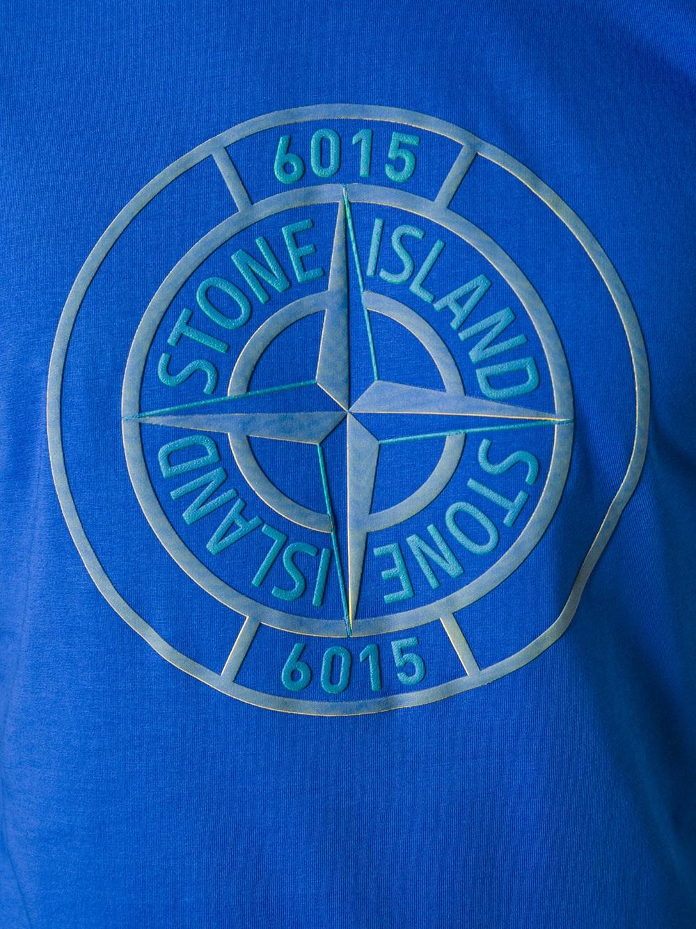 lyst stone island logo print t shirt in blue for men. Black Bedroom Furniture Sets. Home Design Ideas