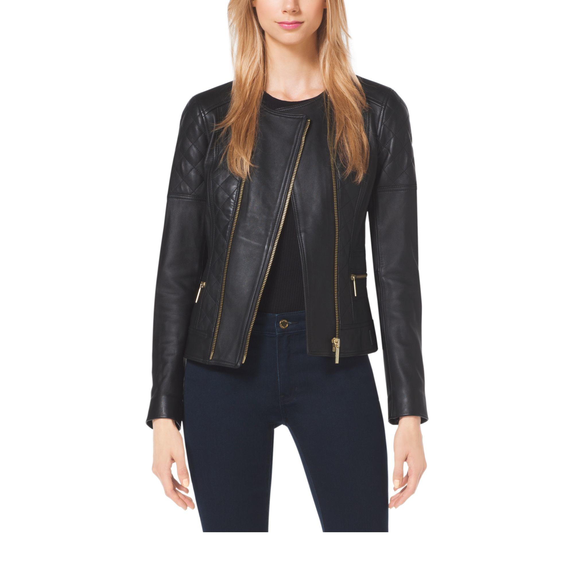 michael kors quilted leather moto jacket in black lyst. Black Bedroom Furniture Sets. Home Design Ideas