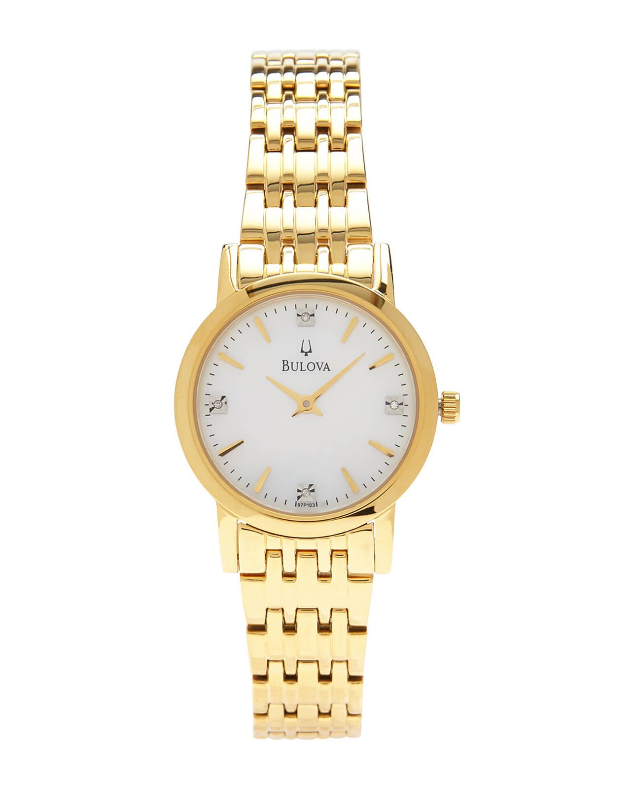 bulova 97p103 gold tone of pearl in