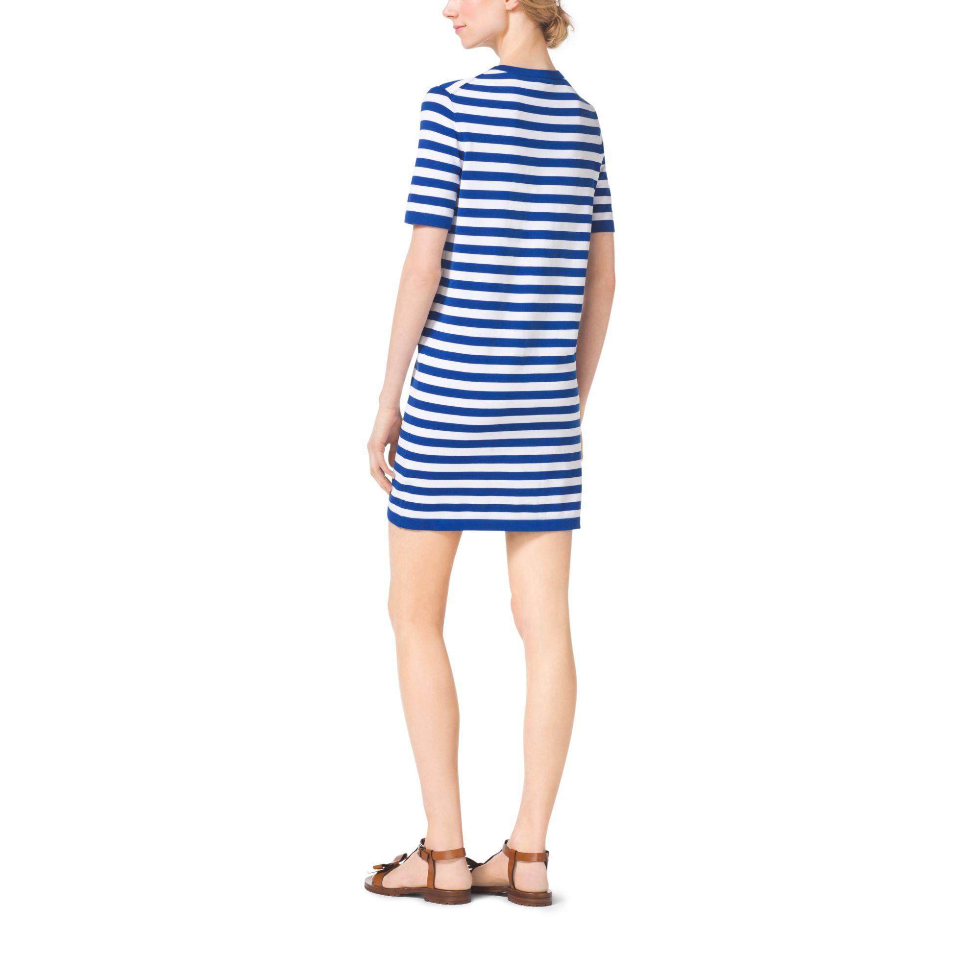 Lyst - Michael Kors Striped Compact-cotton T-shirt Dress in Blue c6e82227defb