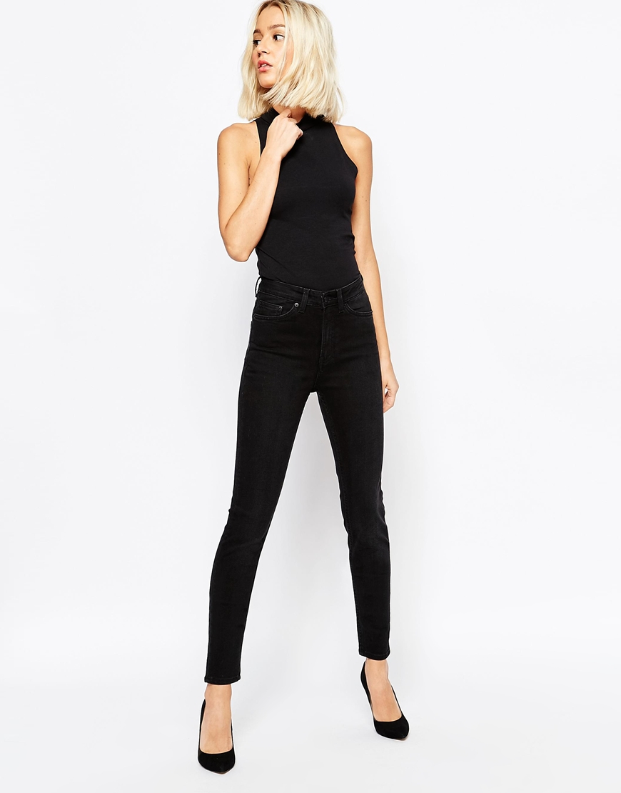 Weekday Thursday High Waist Slim Jeans in Black   Lyst