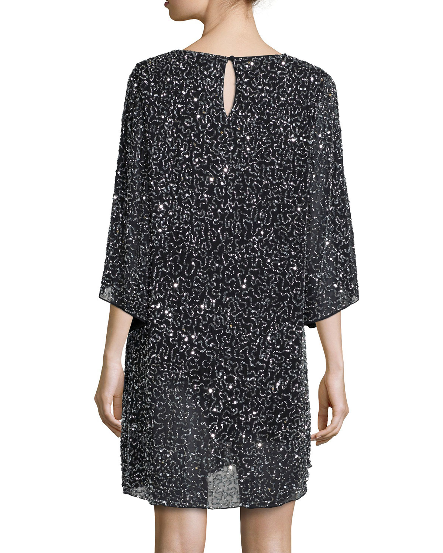 shary beaded shift dress in black lyst