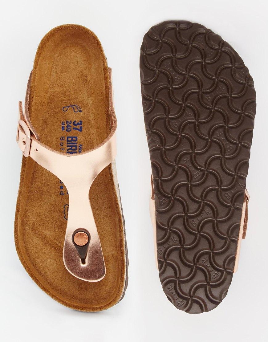 birkenstock arizona metallic leather copper flat sandals