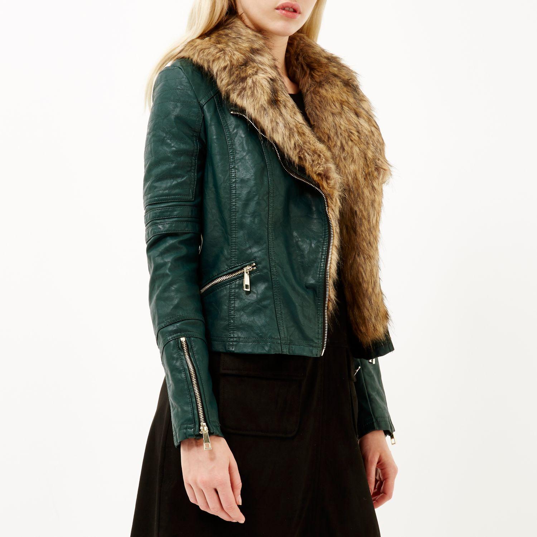 River island Dark Green Leather-Look Faux Fur Biker Jacket in ...