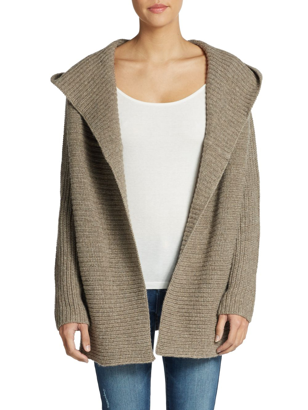 Lyst - Vince Hooded Chunky Knit Cardigan in Brown 472ca28b3