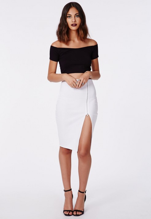 Missguided Alyx Zip Side Split Midi Skirt White in White | Lyst