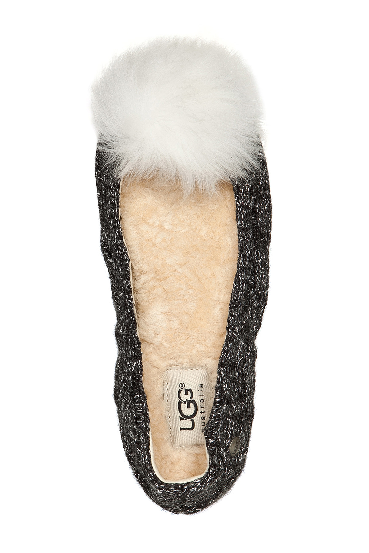e5f98b502 UGG Wool Slippers With Fur Pompom - Grey in Brown - Lyst