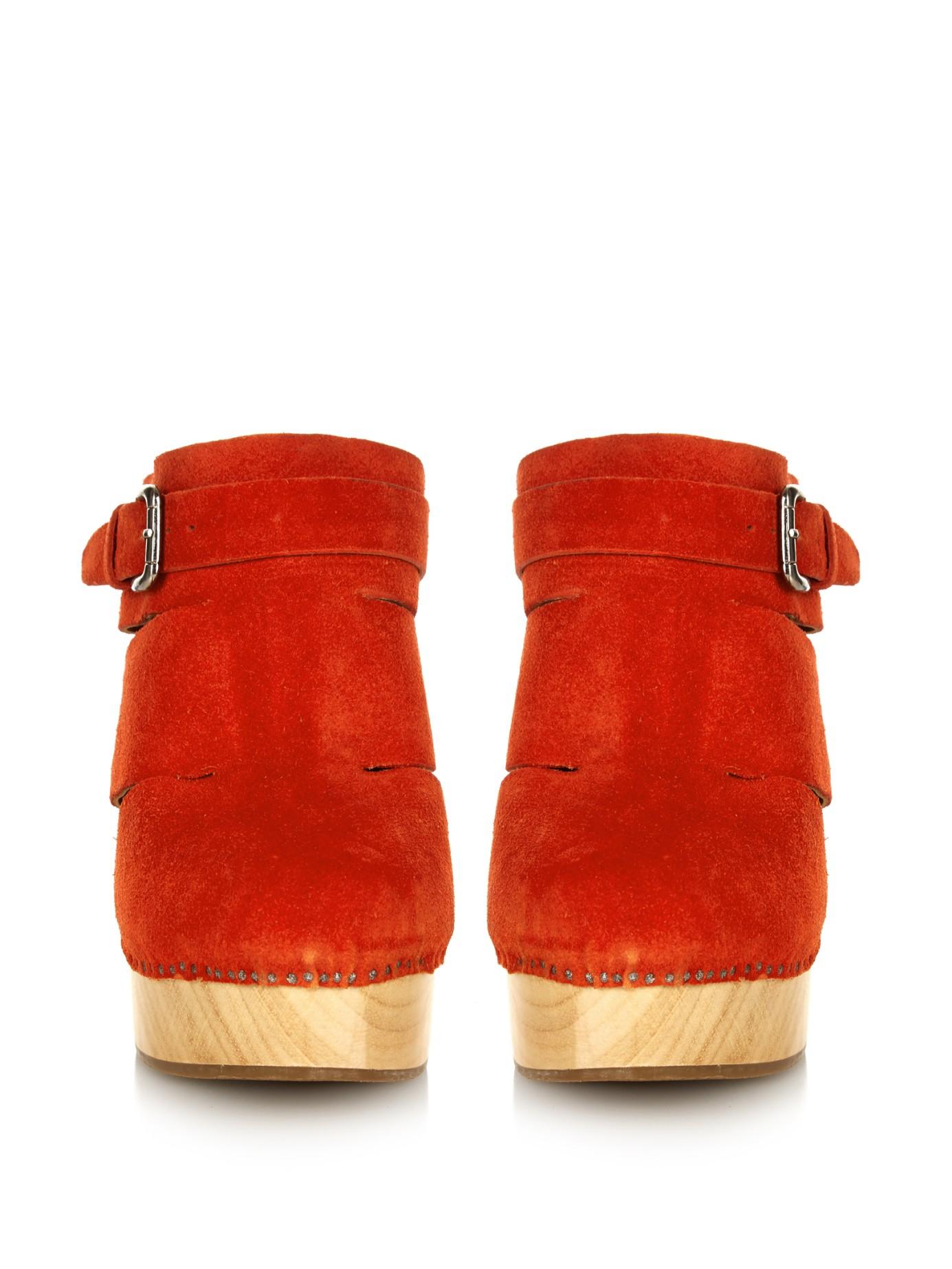 37058fbb21e Lyst - Rachel Comey Fiero Suede Clogs in Orange