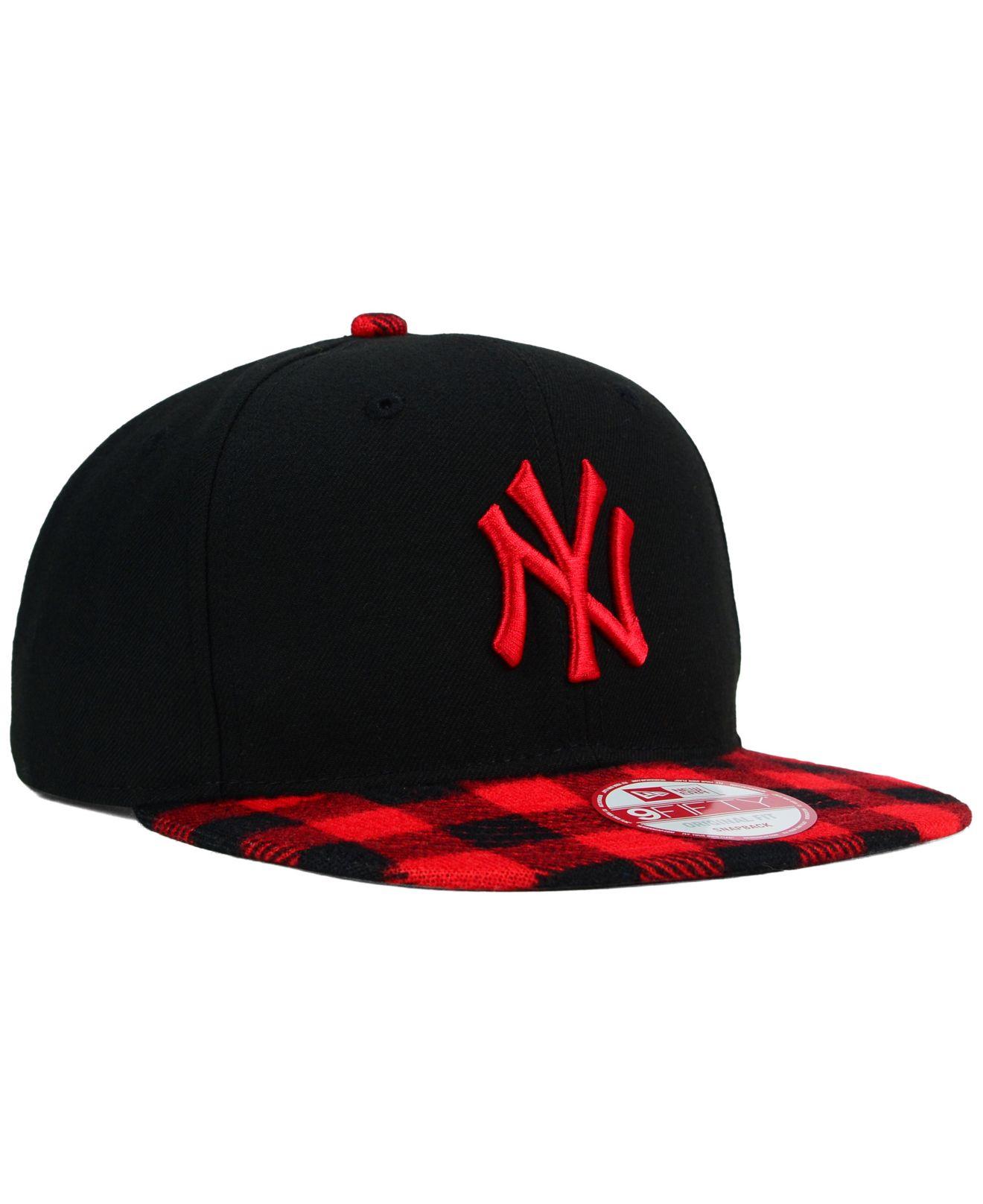 c44d4a85362 Lyst - KTZ New York Yankees Premium Plaid 9fifty Snapback Cap in Red ...