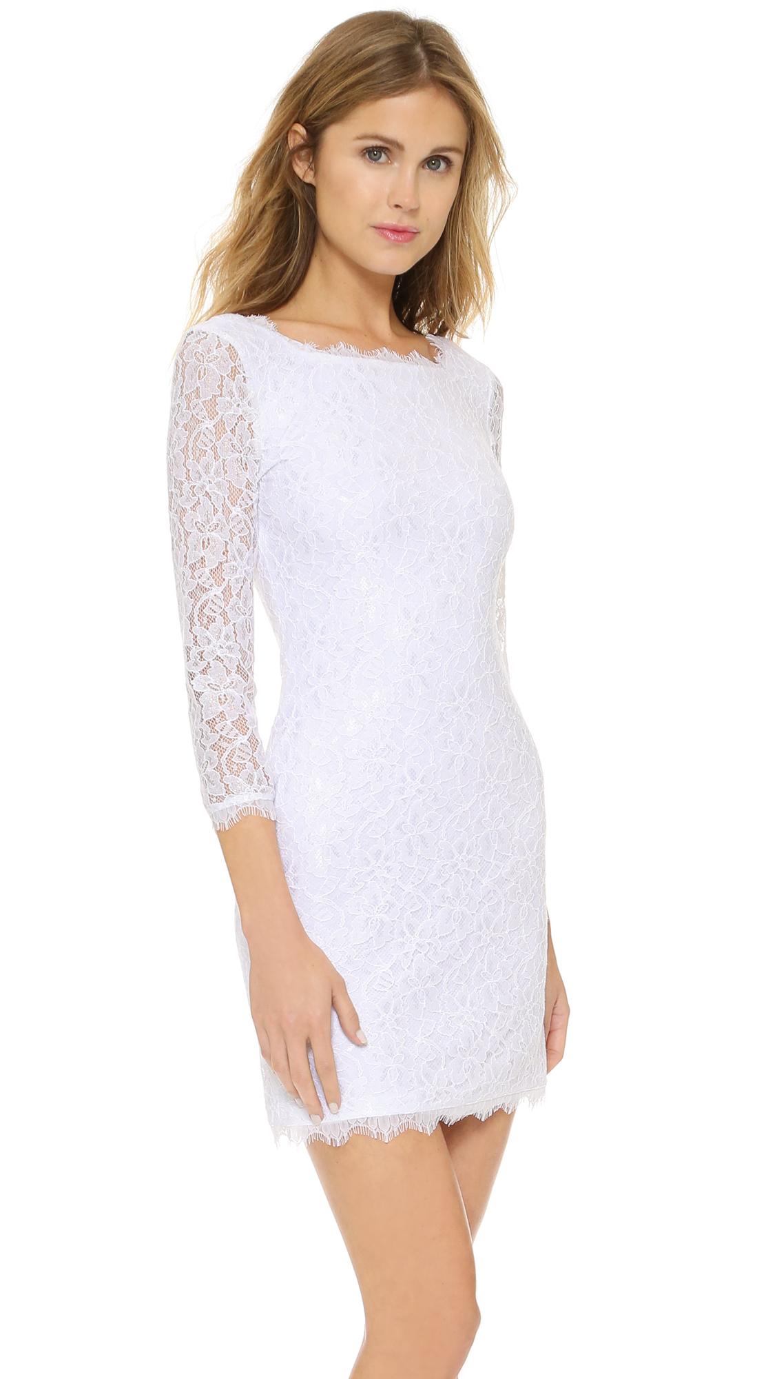 diane von furstenberg zarita lace dress white in white lyst. Black Bedroom Furniture Sets. Home Design Ideas