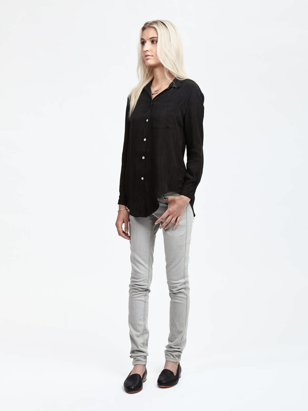 objects without meaning cupro button down shirt in black