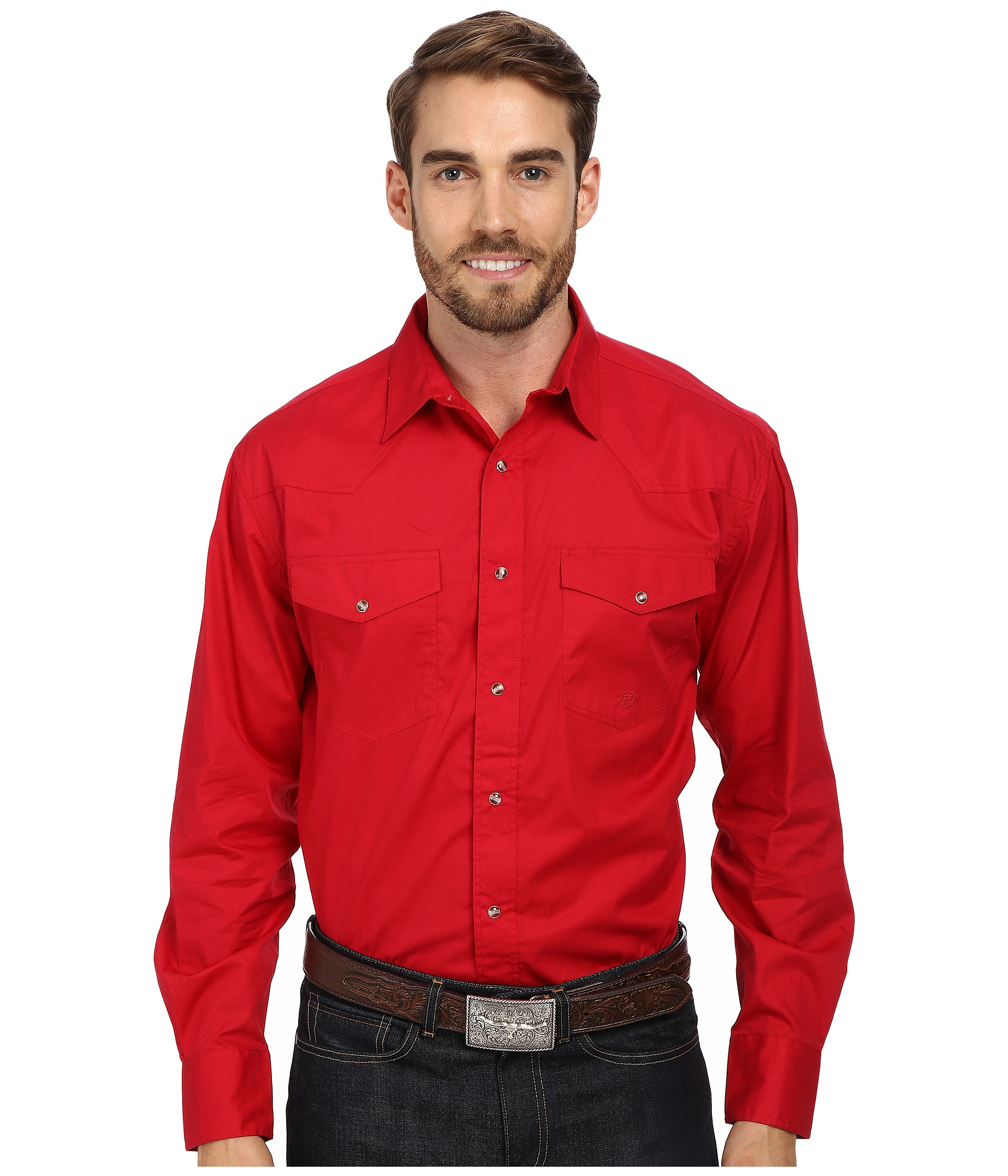 Roper l s solid basic snap front in red for men lyst for Mens shirts with snaps instead of buttons