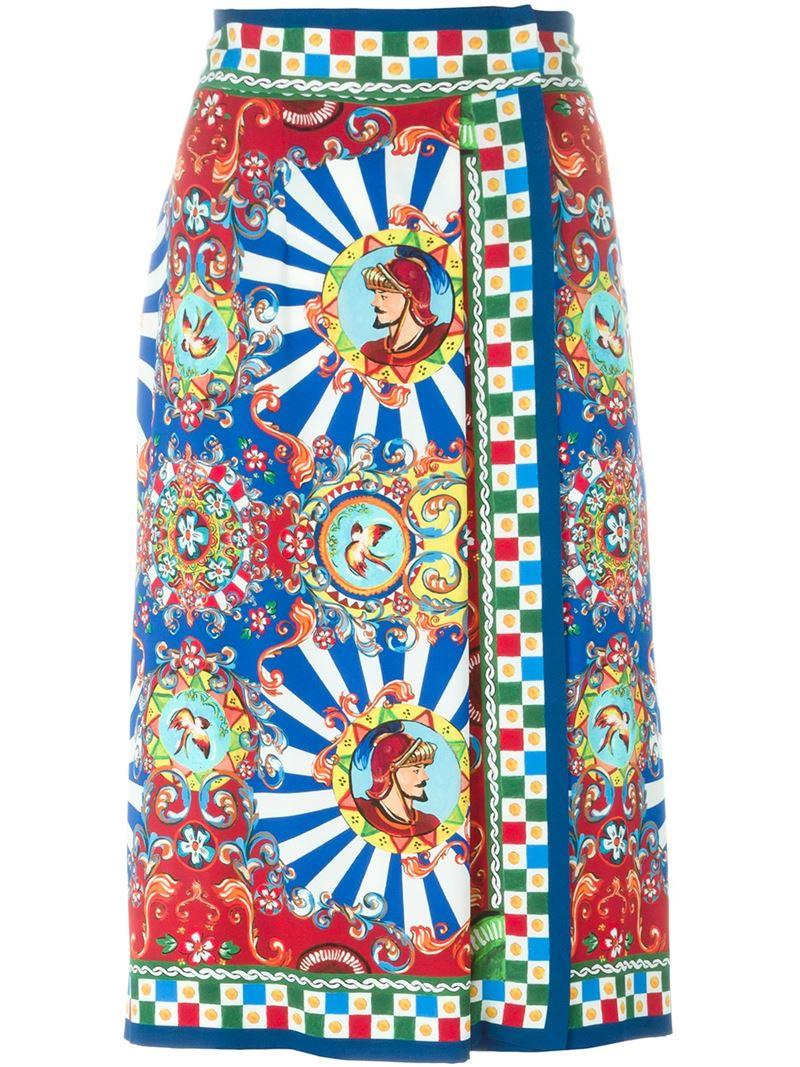 Dolce Amp Gabbana Carretto Siciliano Print Wrap Skirt Lyst