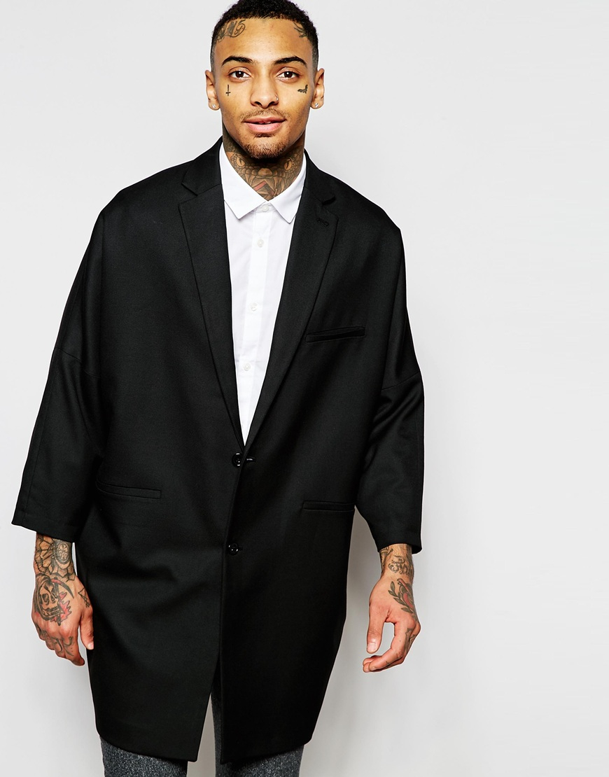 lyst asos oversized blazer with wide cropped sleeves in black for men. Black Bedroom Furniture Sets. Home Design Ideas