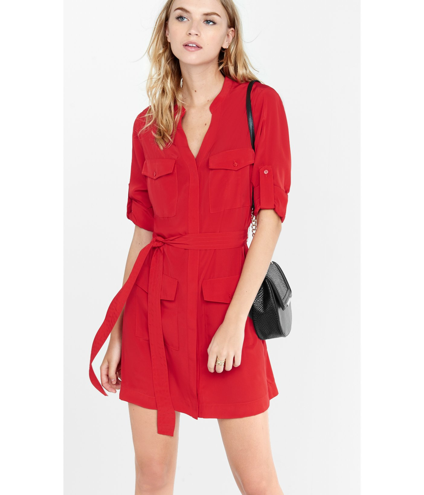 Lyst Express Red Four Pocket Military Shirt Dress In Red