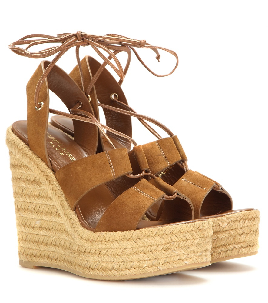 bbf673a3d8d Lyst - Saint Laurent Espadrille 95 Suede Wedge Sandals in Brown