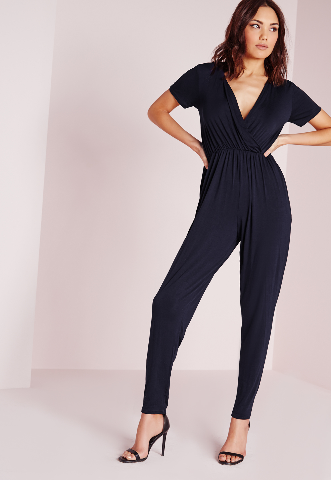 Lyst Missguided Jersey Short Sleeve Wrap Jumpsuit Navy In Blue