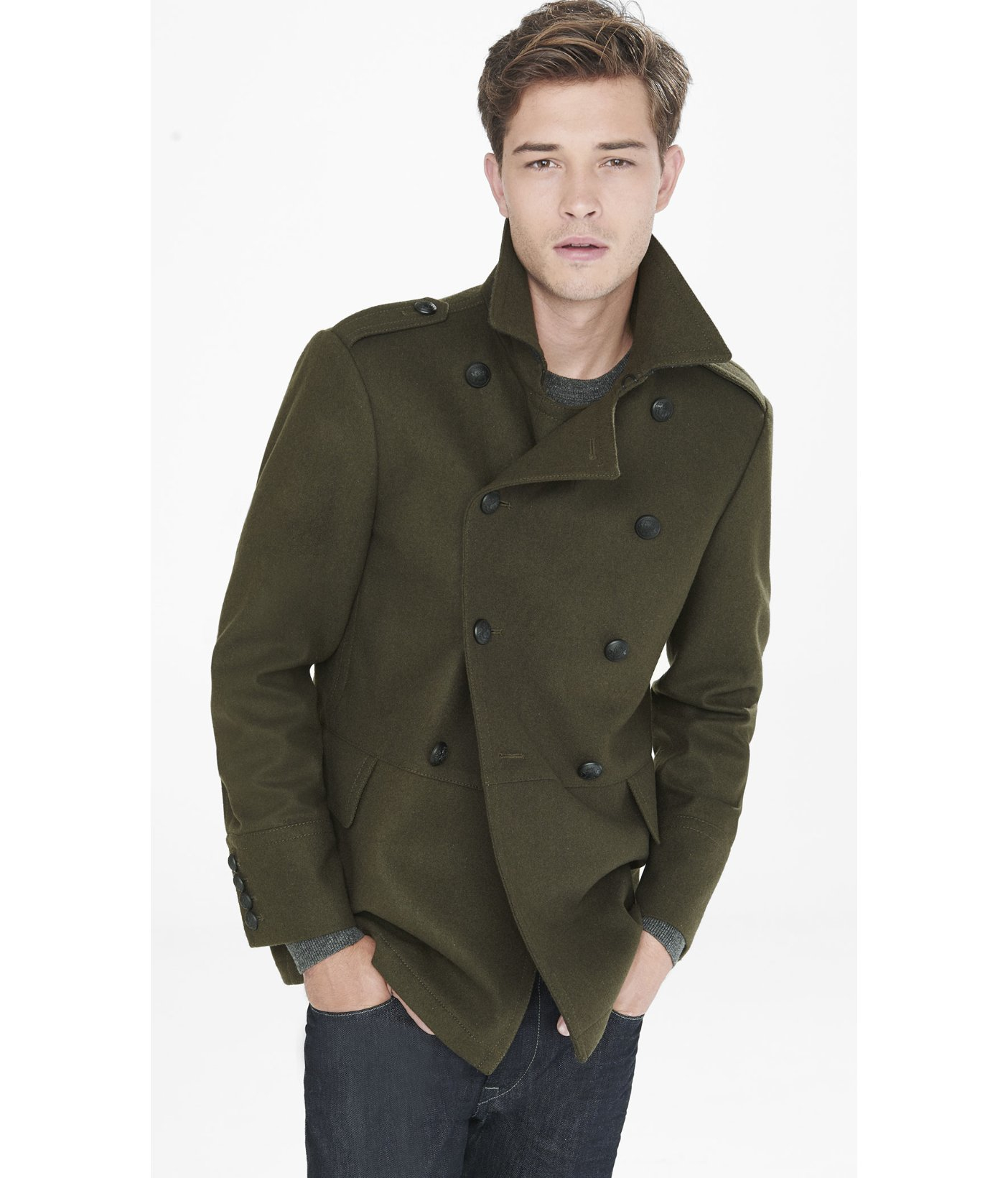 Express Double Breasted Wool Blend Peacoat in Green for Men | Lyst