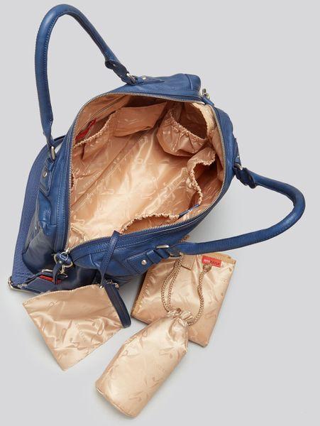 storksak diaper bag caroline leather in blue navy lyst. Black Bedroom Furniture Sets. Home Design Ideas