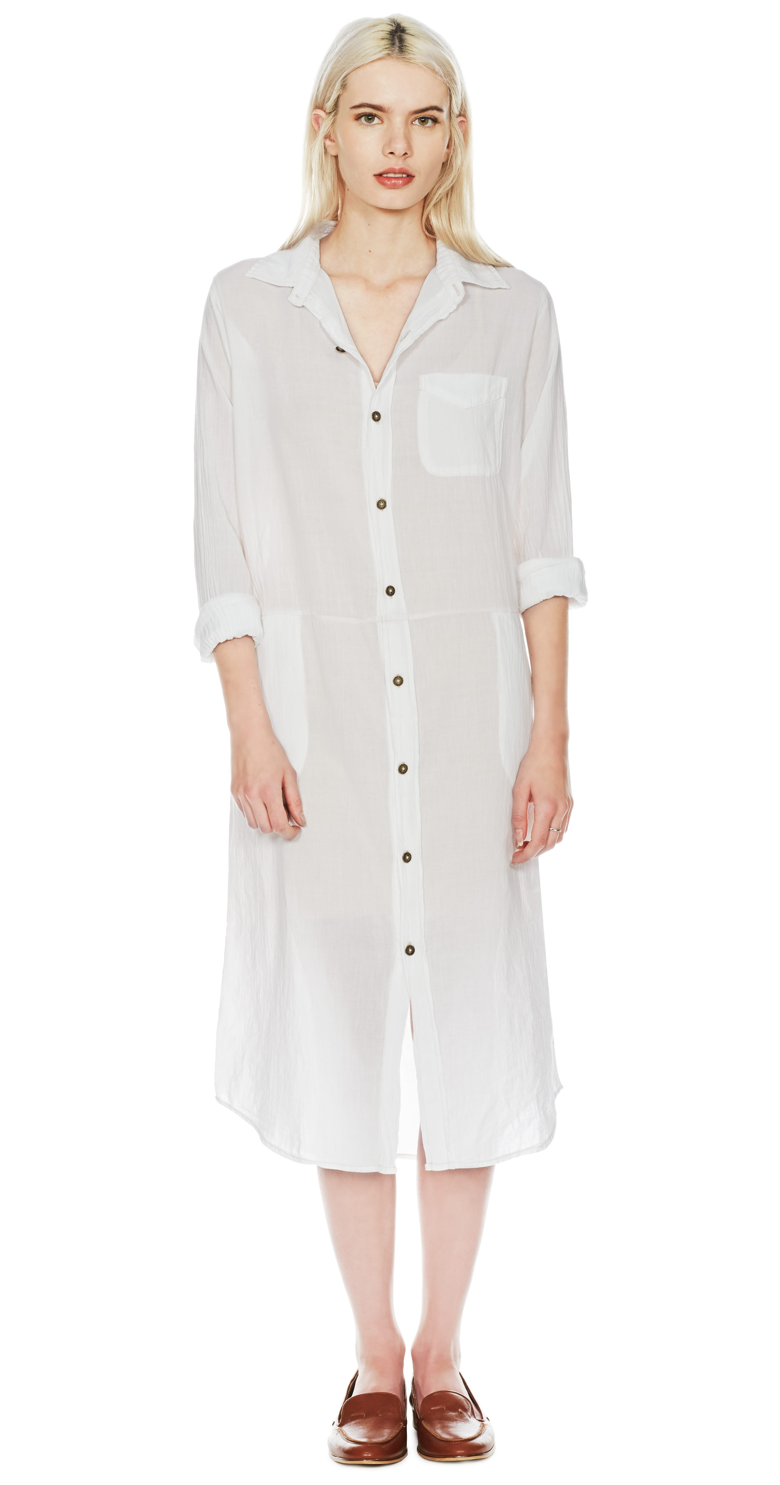Lyst Currentelliott The Long Shirt Dress In White