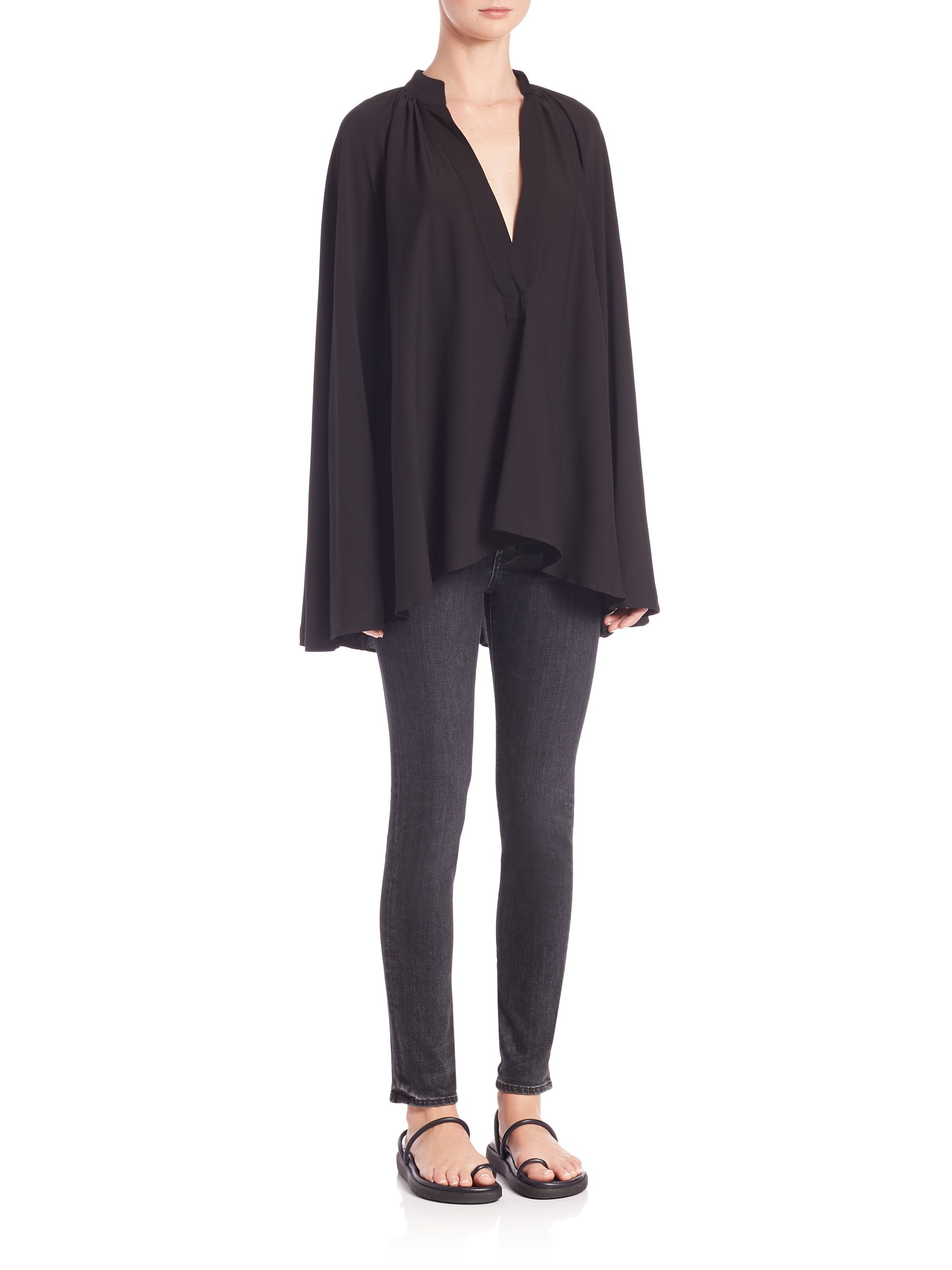 975ccc34e49694 Lyst - Helmut Lang Stretch Silk Blouse in Black