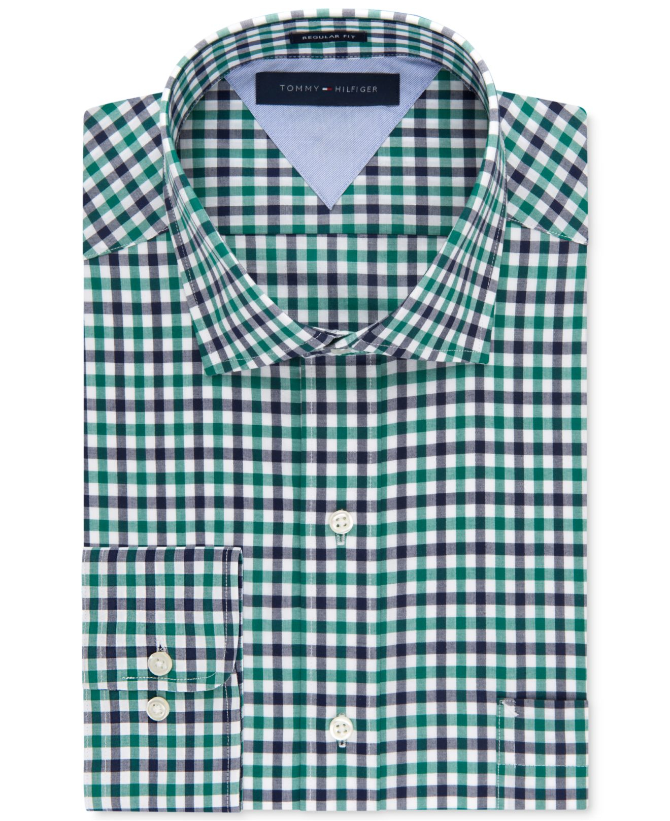 Tommy hilfiger classic fit green and blue multi gingham for Mens green gingham dress shirt