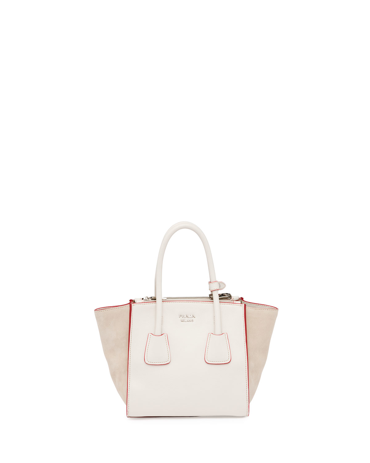 prada bags and wallets - Prada Calfskin And Suede Mini Twin-pocket Tote Bag in Beige (WHITE ...