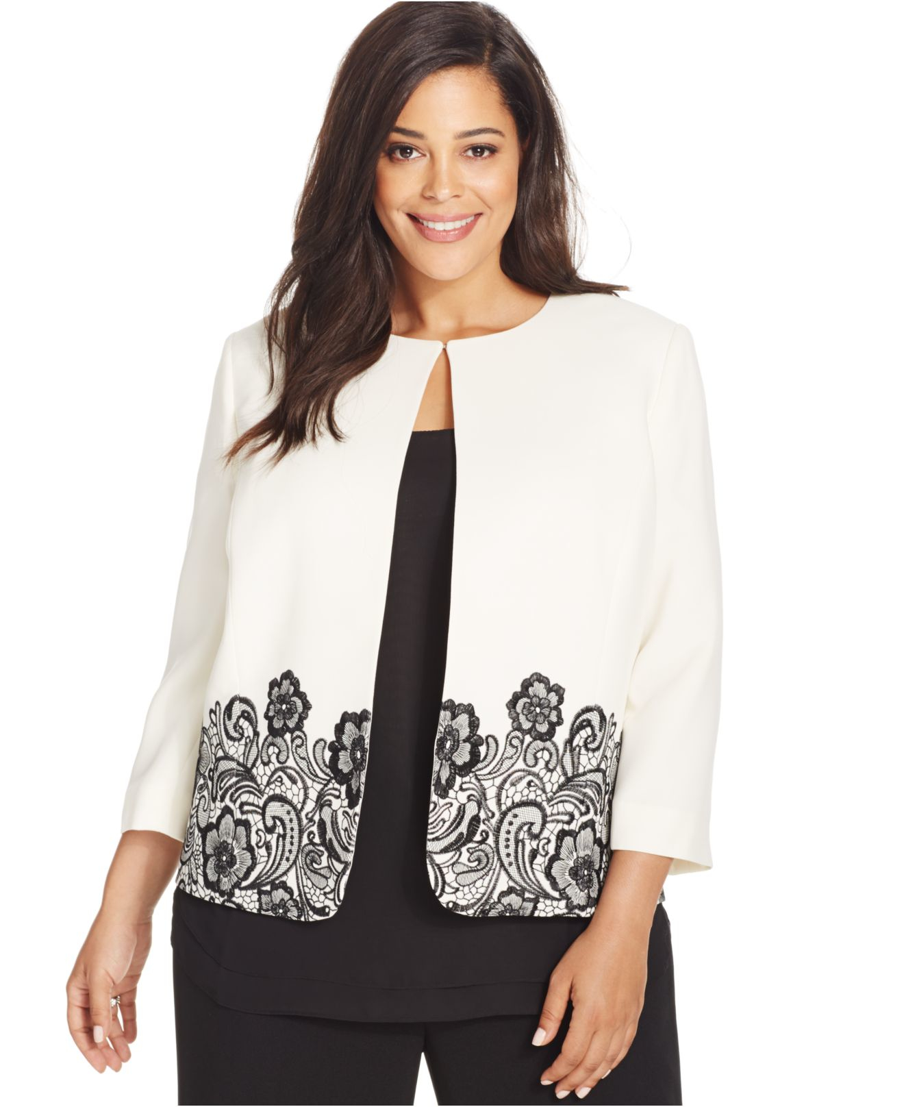 Lyst tahari plus size embroidered floral print jacket in