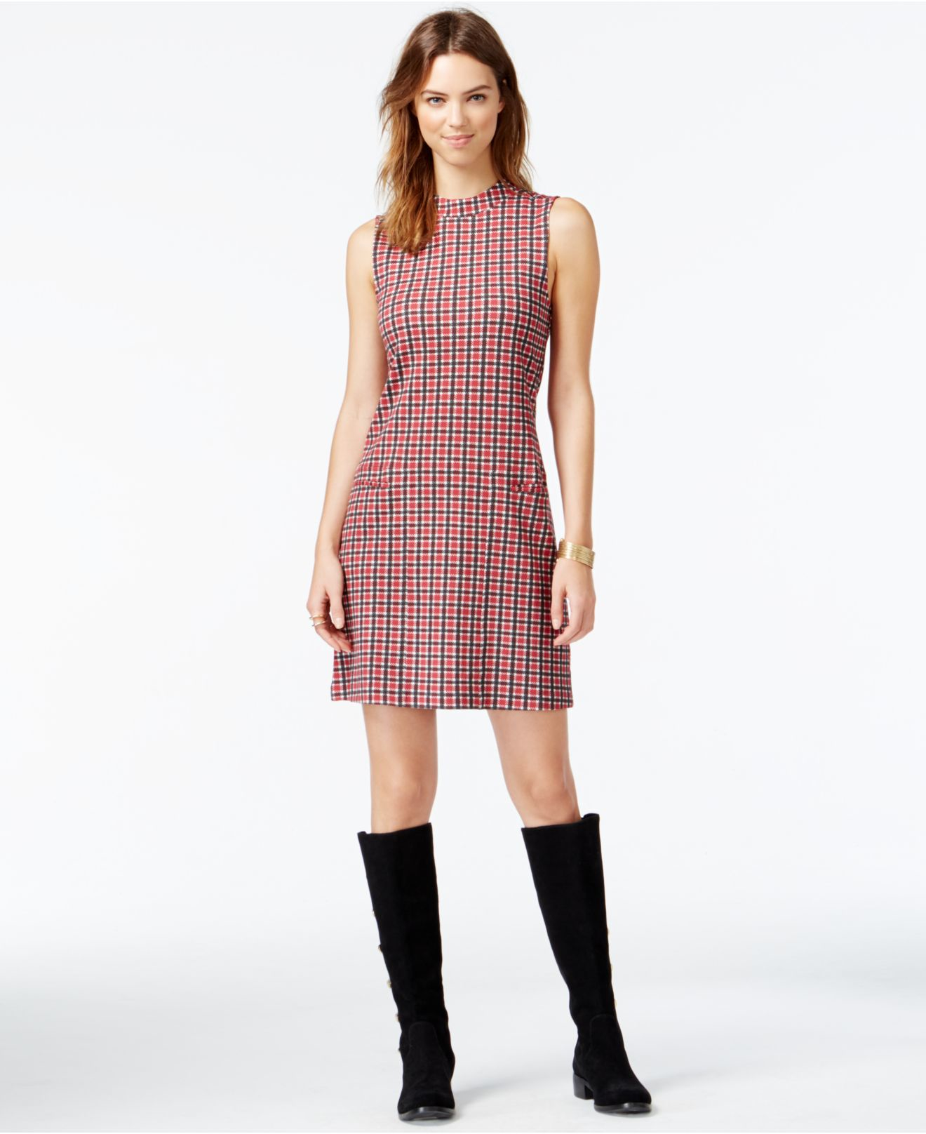 Sanctuary Mod Plaid Shift Dress in Pink | Lyst