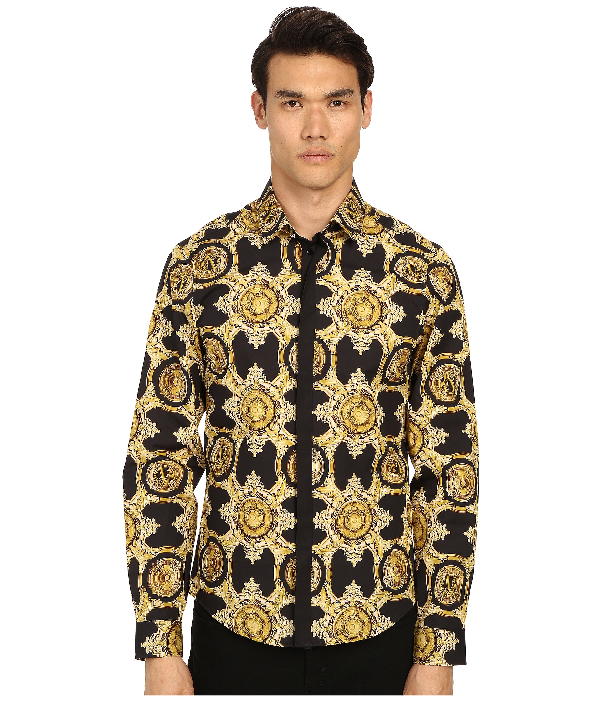 versace baroque medallion print button up in