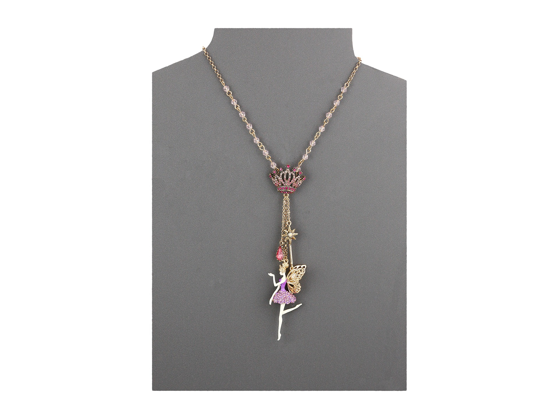 Lyst betsey johnson princess charming fairy pendant necklace gallery aloadofball Image collections