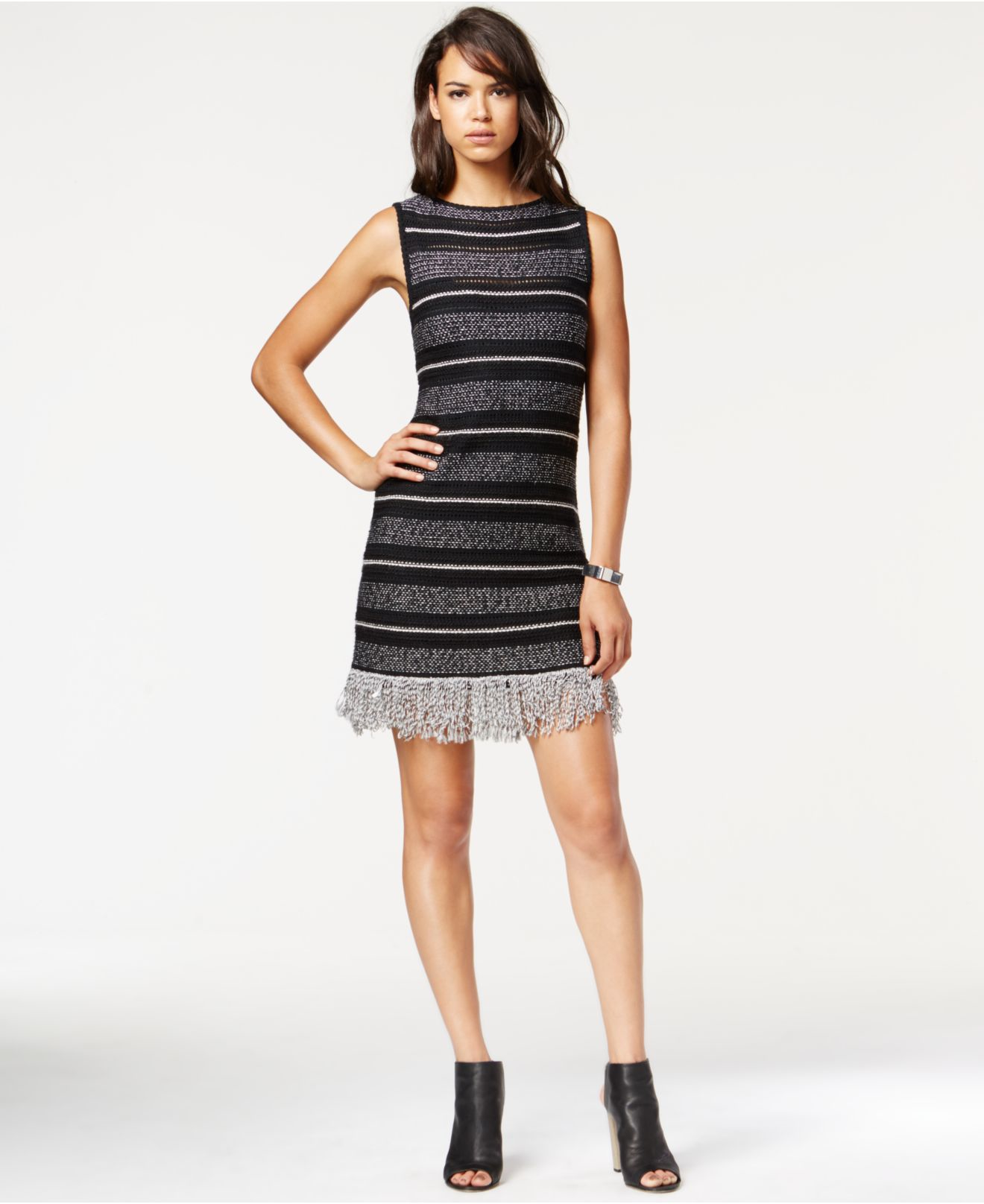 ca511847c0 RACHEL Rachel Roy Striped Fringe-detail Sweater Dress in Black - Lyst